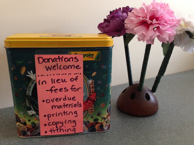 The library donation tin