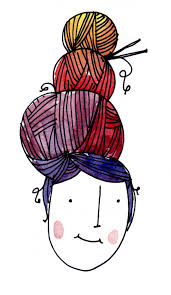 A drawing of a person with a yarn updo